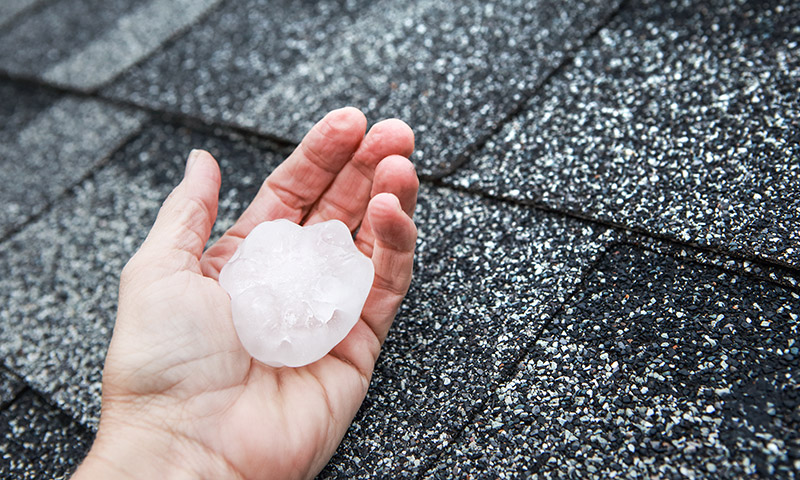 Photo of a large hail stone on a roof in Lawrence, Kansas. We work with insurance claims to provide roof repairs for hail damage and other roof damage caused by natural disasters.